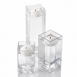 Set of 3 square vases and 3 floating candles