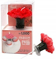 Carnation flower candle cake toppers