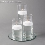 Mirror and cylinder vase floating candle centerpieces - 48-piece bulk set