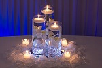 All-in-one floating candle floral table centerpiece