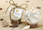 Sand and seashell tealight wedding favors
