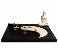 Yin and yang candle holder with Buddha statue