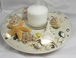Sand & shell votive candleholder with white sand