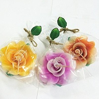 Rose shaped candle favors - Set of 3 assorted colors