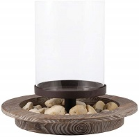 Round hurricane candle holder with dish and stones
