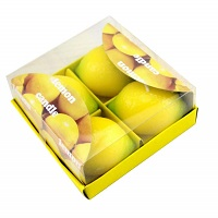 Box of 4 unscented lemon fruit candles