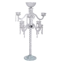 3-tier crystal glass candelabra with flower bowl