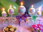 15th birthday centerpiece with 5 ball candles