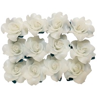 White rose shaped floating candles - Pack of 12