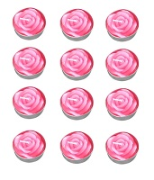Pink rose tealight candles - Pack of 12