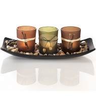 Japanese style candlescape tray centerpiece