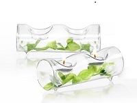 Glass log shaped candle holders - Set of 2
