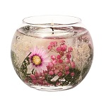 Stoneglow gel fishbowl candle with assorted florals
