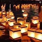 Floating paper candle lanterns