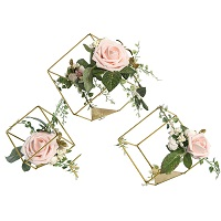 Cube shaped candle centerpieces with artificial roses