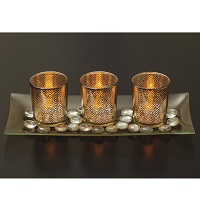 Votive candle tray with ornamental stones
