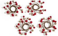 Christmas berry taper candle rings - Set of 4