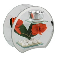 Double sided glass tealight stand with silk flowers
