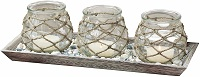 Beach style trio candle holder set with tray