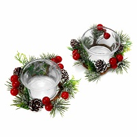 Christmas berry & pine votive rings - Set of 2