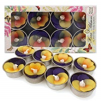 Multi-coloured pansy shaped candles - Set of 8 tealights