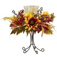 Metal candle pedestal with silk sunflowers