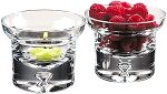 Glass centerpieces with t-lites and fruit - 4-piece set