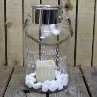 Glass storm candle lantern - Hands and hearts