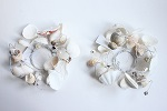 Seashell decorated candle rings - Pair