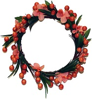 Candle ring with orange flowers and berries
