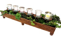 6-light votive candle and plant stand