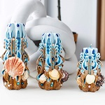 Carved coastal candles - Set of 3 beaded candles with seashells