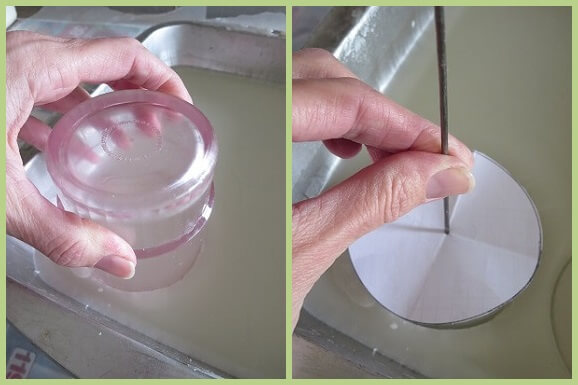 cutting circles out of wax with water glass/Making wick hole using paper template