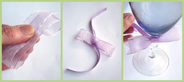 Tying ribbons on a wine glass