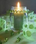 Beaded glass candle jar