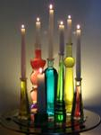 Bottle candle holders centerpiece