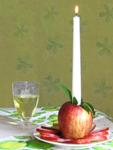 fresh apple taper candle holder