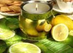 Lemon tin container candle centerpiece with fresh lemons