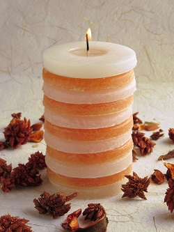 Orange And Ivory Stacked Round Pillar Candle