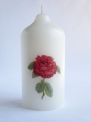 Pillar candle with rose decoupage